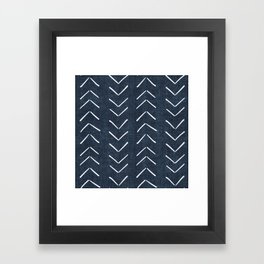 Mud Cloth Big Arrows in Navy Framed Art Print