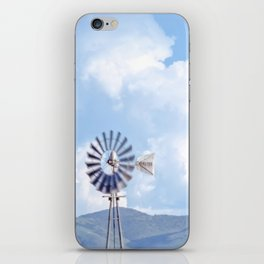 """Blue Windmill Blue Sky"" by Murray Bolesta iPhone Skin"