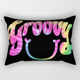 Groovy Smile // Tie-dye Black Fun Retro 70s Hippie Vibes Green Yellow Pink Lettering Typography Art Rectangular Pillow