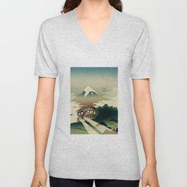 Catbus and Mount Fuji Unisex V-Neck
