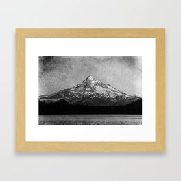 Mt Hood Black and White Vintage Nature Photography Framed Art Print