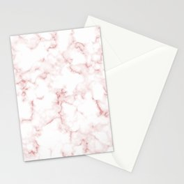 Pink Rose Gold Marble Natural Stone Gold Metallic Veining White Quartz Stationery Cards