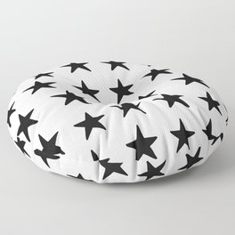 Star Pattern Black On White Floor Pillow