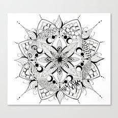 Mandala Art, India, Geometric, Tribal Art, Black and white Canvas Print