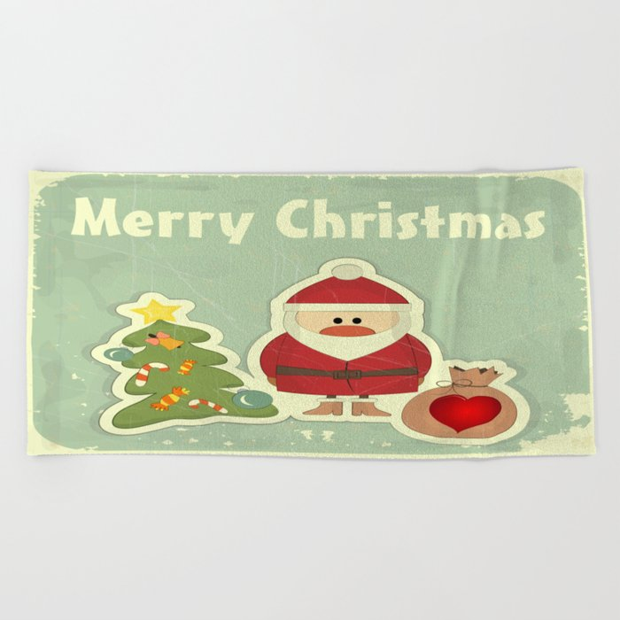 Merry Christmas Beach Towel