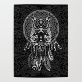 White Owl Dreamcatcher Aztec Pattern Poster