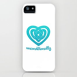 UNCONDITIONALLY in teal iPhone Case