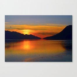 Alaskan Sunset Silhouette - Turnagain Arm Canvas Print