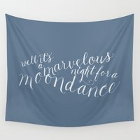calligraphy Wall Tapestries featuring calligraphy print: moondance by claire + pierre