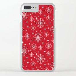 Snowflakes winter christmas minimal holiday red and white decor gifts Clear iPhone Case