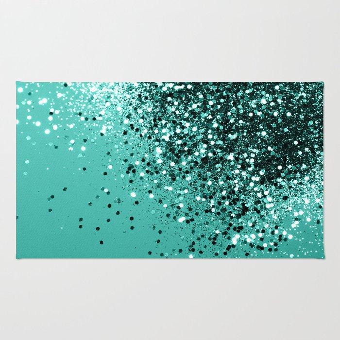 Sparkling Turquoise Lady Glitter #1 #shiny #decor #art #society6 Rug