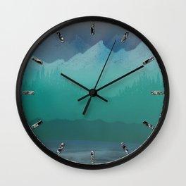 Ombre Mountainscape (Blue, Aqua) Wall Clock