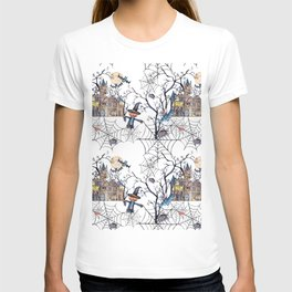 Seamless pattern halloween, spider web and dry trees. White background. T-shirt