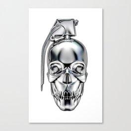 Skull grenade silver Canvas Print