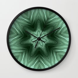 Green Star Flower Blossom Metallic Color #Pattern #Background Wall Clock