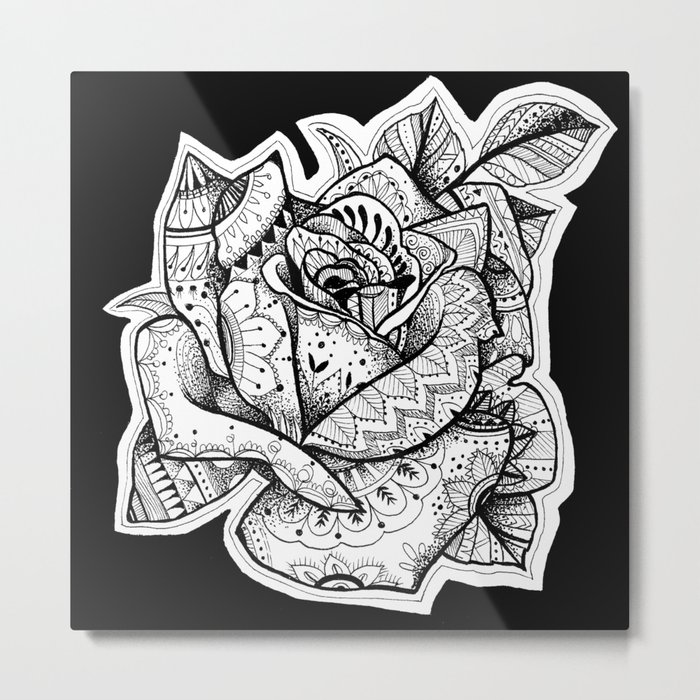 Henna Rose Tattoo Metal Print By Robinelizabethart Society6