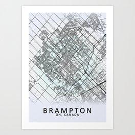 Brampton, ON, Canada, White, City, Map Art Print