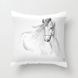 Black & White Horse Throw Pillow