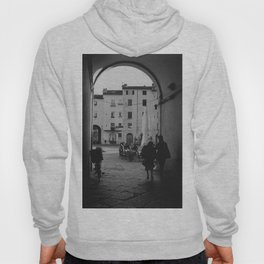 Italian old women walking through a gate| Lucca, Italy | Analog photography black and white art print Hoody