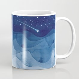 house in mountains, blue Coffee Mug