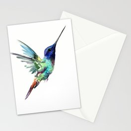 Flying Hummingbird flying bird, turquoise blue elegant bird minimalist design Stationery Cards