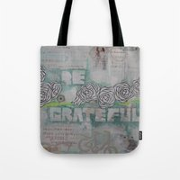 grateful dead Tote Bags featuring Grateful by TrishRay