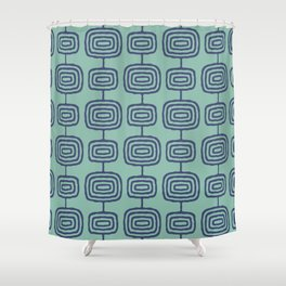 Mid Century Modern Atomic Rings Pattern Turquoise and Blue Shower Curtain