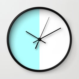 White and Celeste Cyan Vertical Halves Wall Clock