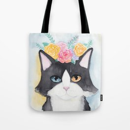 Springtime Flowers Tuxedo Cat Tote Bag