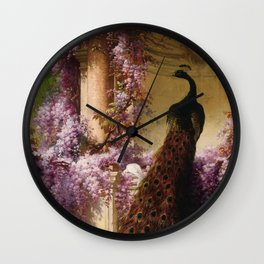 Peacock, White Doves, Yellow Iris & Purple Flowering Wisteria in a Garden landscape floral painting Wall Clock