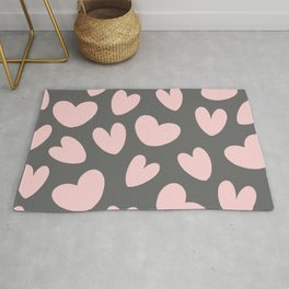 Valentine's Day Pink Gray Romantic Hearts Rug