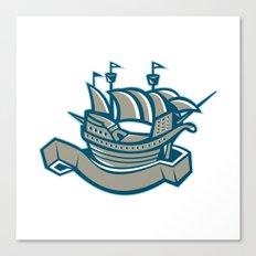 sailing ship galleon scroll Canvas Print