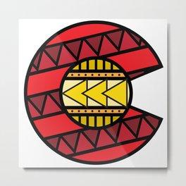 Colorado Tribal Flag: Red and Yellow Metal Print