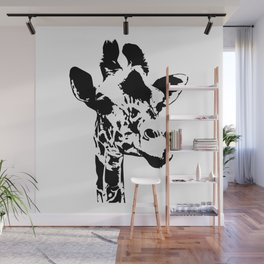 ''Nowhere Collection'' - Black And White Giraffe Print Wall Mural