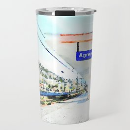 Sign and shelter of the Agropoli rail station Travel Mug