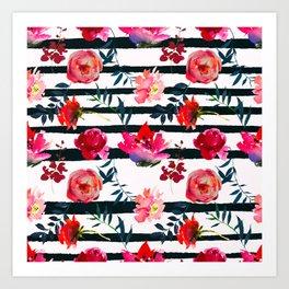 Black white pink floral watercolor stripes pattern Art Print