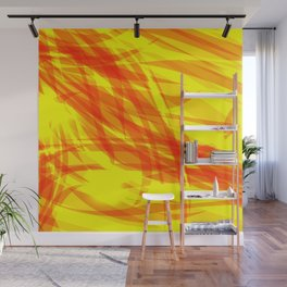 Gold and smooth sparkling lines of orange ribbons on the theme of space and abstraction. Wall Mural
