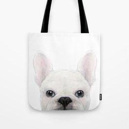 French bulldog white Dog illustration original painting print Tote Bag