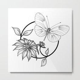 Butterfly & Flower Metal Print