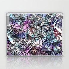 Purple blue watercolor floral hand drawn pattern Laptop & iPad Skin