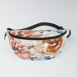 Copper Peach and Blue Abstract Floral Watercolor Fanny Pack