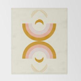 Moon rainbow Throw Blanket