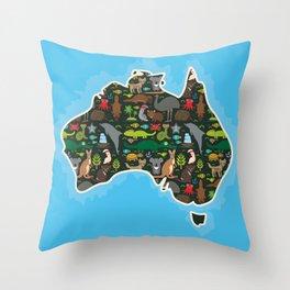 map of Australia. Wombat Echidna Platypus Emu Tasmanian devil Cockatoo kangaroo dingo octopus fish Throw Pillow