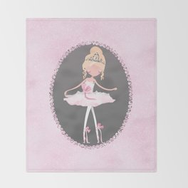 Pink & Grey Ballerina Dancer Throw Blanket