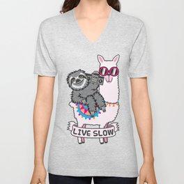 Sloth and Llama Unisex V-Neck