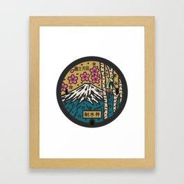 Japan manhole fuji sakura Framed Art Print