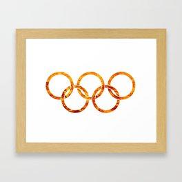 Flaming Olympic Rings Framed Art Print