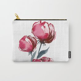 Red Watercolor Flower Buds Carry-All Pouch