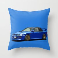 subaru Throw Pillows featuring Subaru Impreza 22B STI Type UK Sonic Blue by Digital Car Art