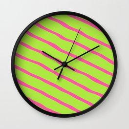 Neon Stripes 1B Wall Clock